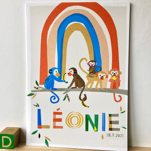 Rainbow with Monkeys Personalised Name Print