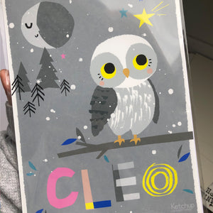 Owl Personalised Name Print