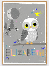 Load image into Gallery viewer, Owl Personalised Name Print