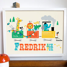 Load image into Gallery viewer, Train with Animals Personalised Name Print