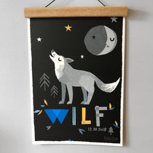 Load image into Gallery viewer, Wolf Personalised Name Print