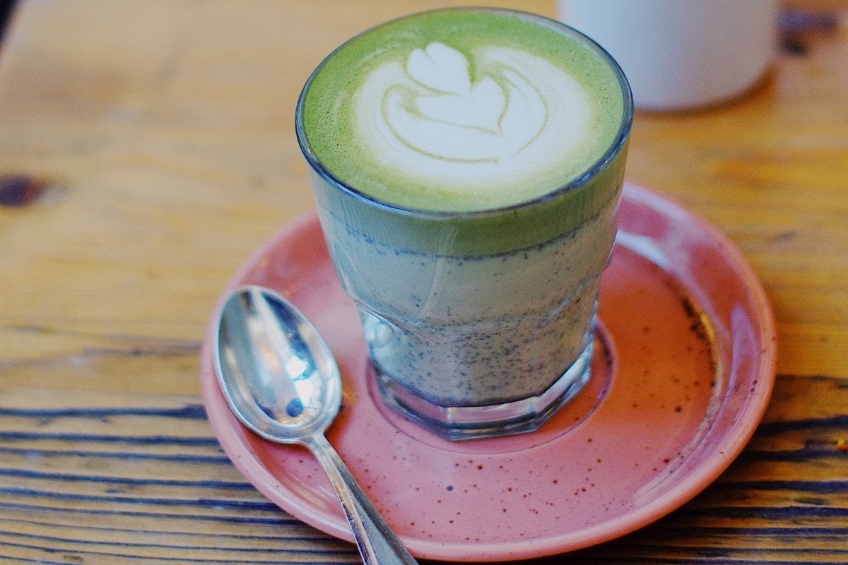 Matcha Latte on plate with spoon