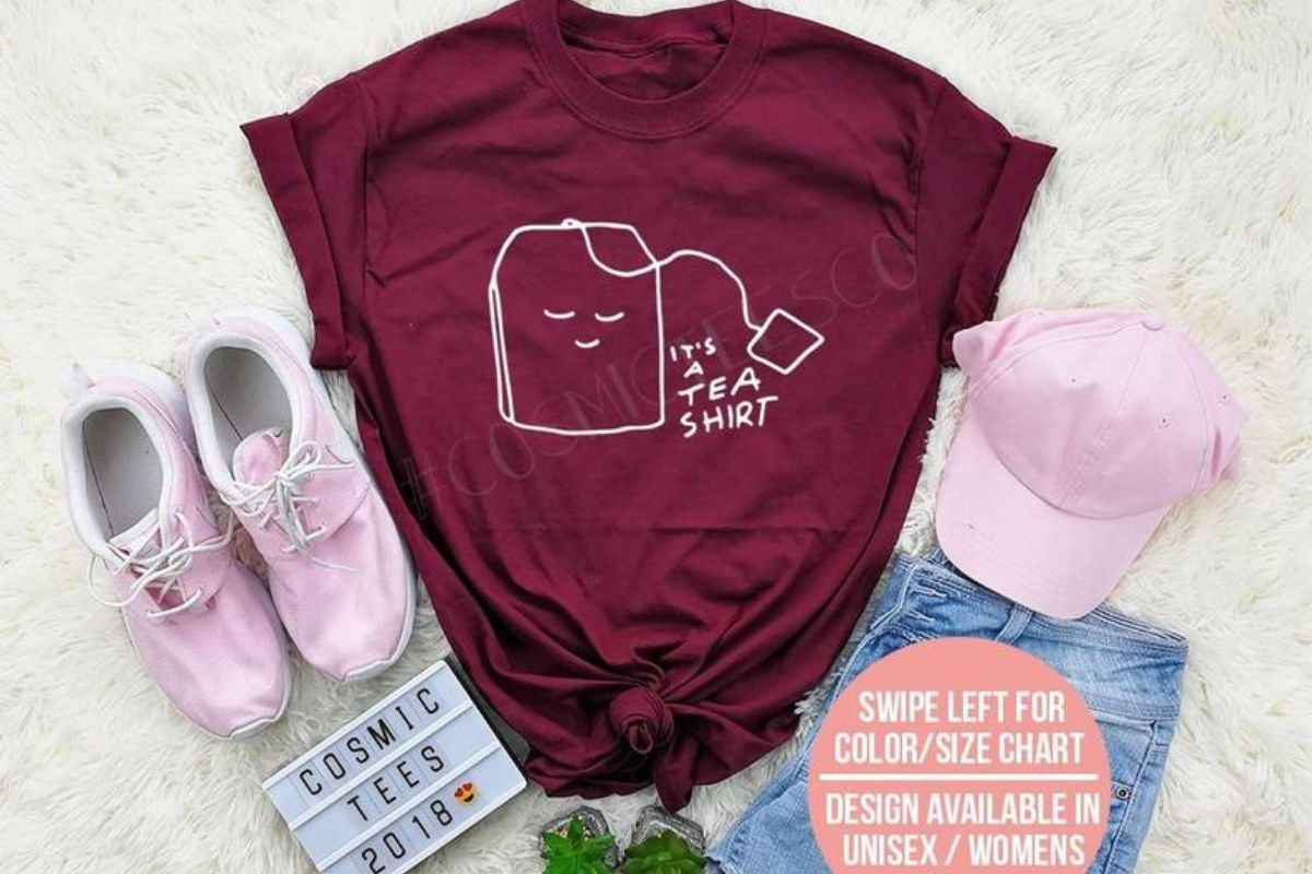 t shirt with tea slogan and pink trainers and cap