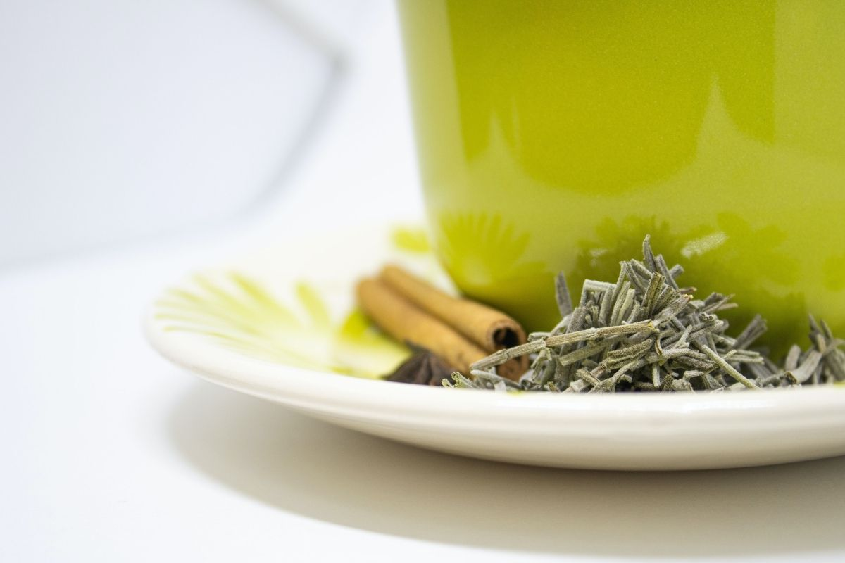 green cup with herbs on the saucer