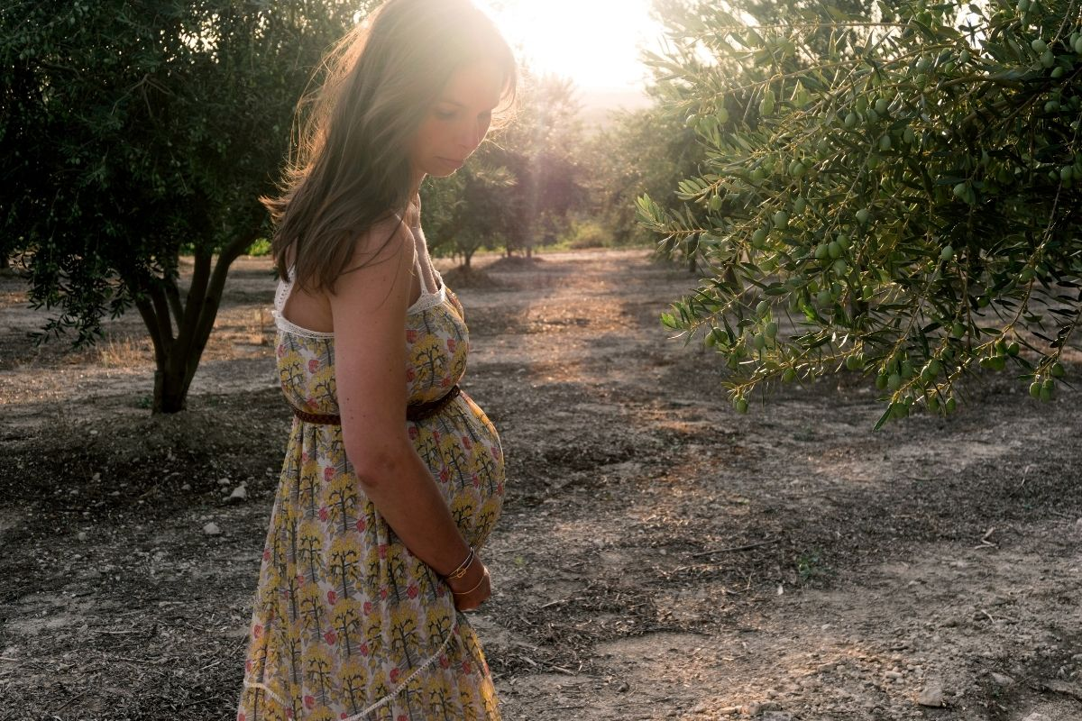 pregnant woman in sunlight