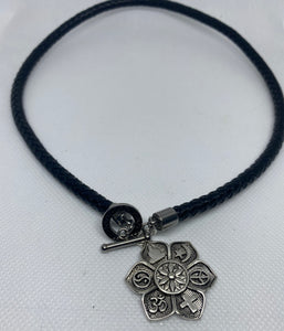 Black Braided Leather Choker Chakra Charm