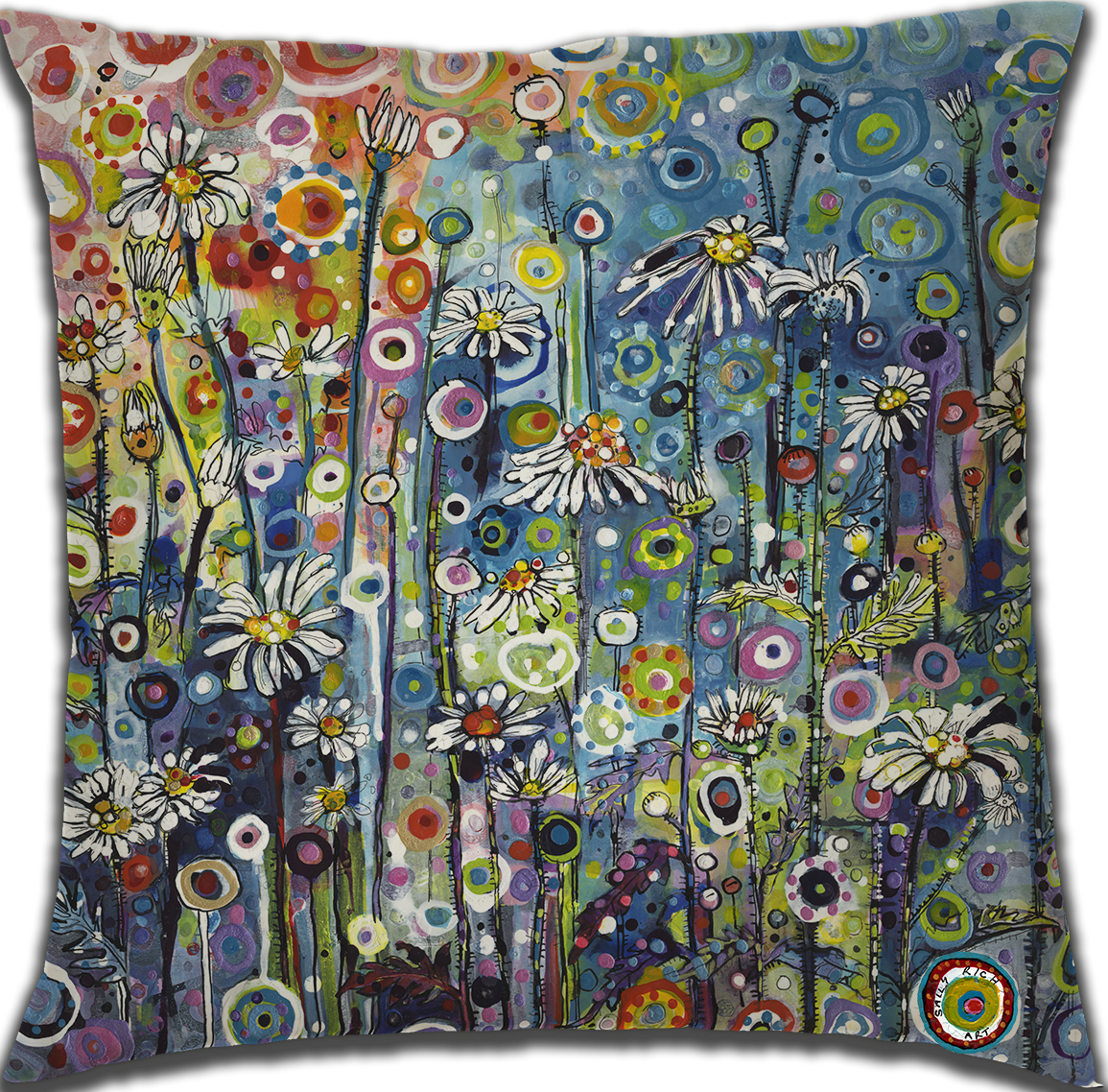 Bright Colourful Flower Cushion
