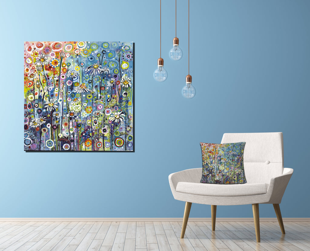 Luxury Flower Canvas on Blue wall Colourful
