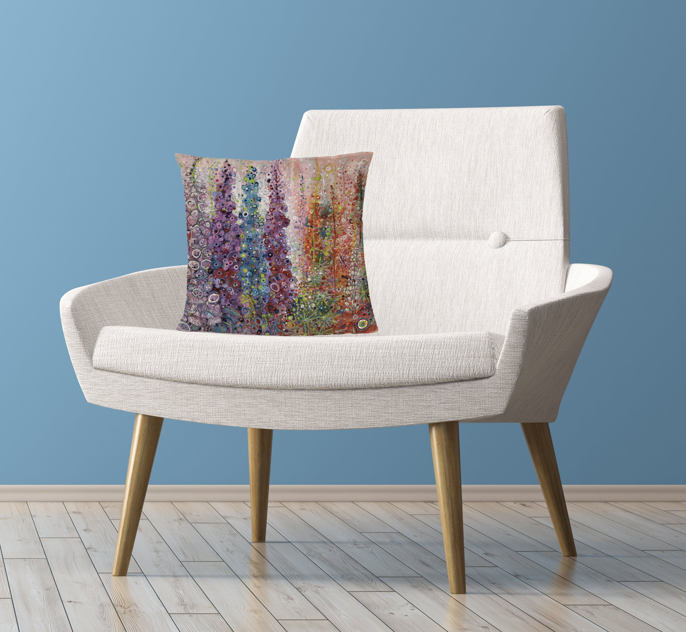 Cushion on Chair Colourful with Flowers