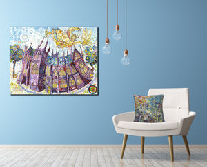 Luxury Cathedral Canvas on Blue wall Colourful