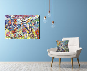 Luxury Angel Canvas on Blue wall Colourful