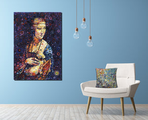 Luxury Lady Canvas on Blue wall Colourful