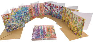 Array of flower cards on white background