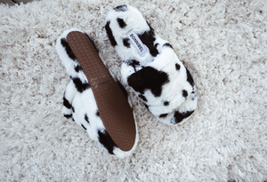 Fuzzy Cow Print Slippers