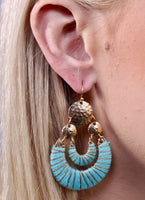 Thread Wrapped Double Drop Earring - Aqua