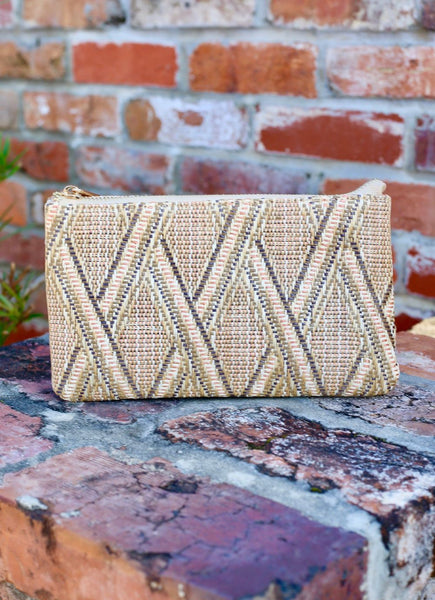 Straw Rust Lattice Crossbody Bag