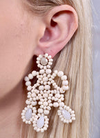 Wood And Glass Bead Tiered Post Earrings -  Ivory