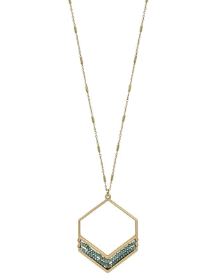 Gold Hexagon with Mint Crystal  Necklace