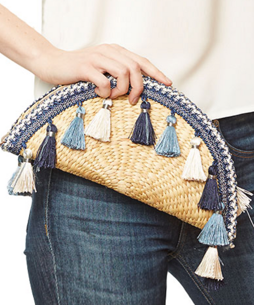 Blue Tassel Straw Clutch