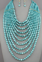 Layered Turquoise Beaded Necklace