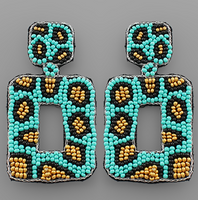Turquoise & Gold Beaded Square Hoop Earring