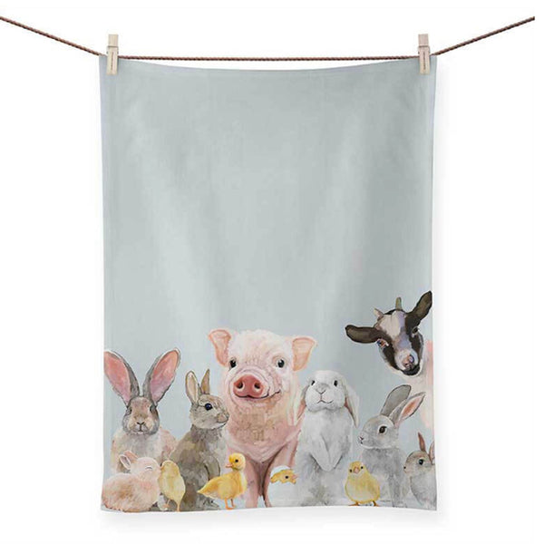 Bunnies and Friends Dish Towel