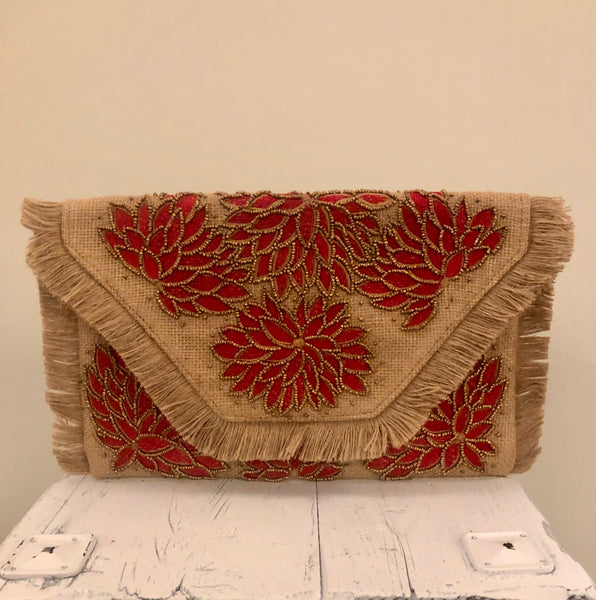 Red and Tan Beaded Straw Clutch