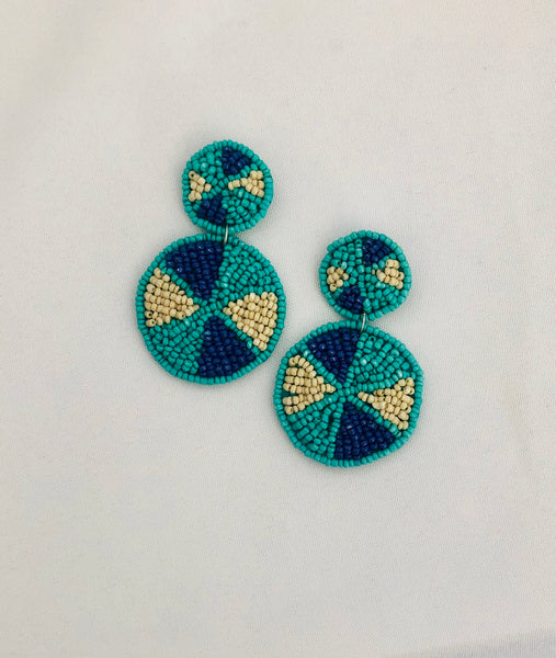 Royal and Baby Blue Beaded Post Earrings
