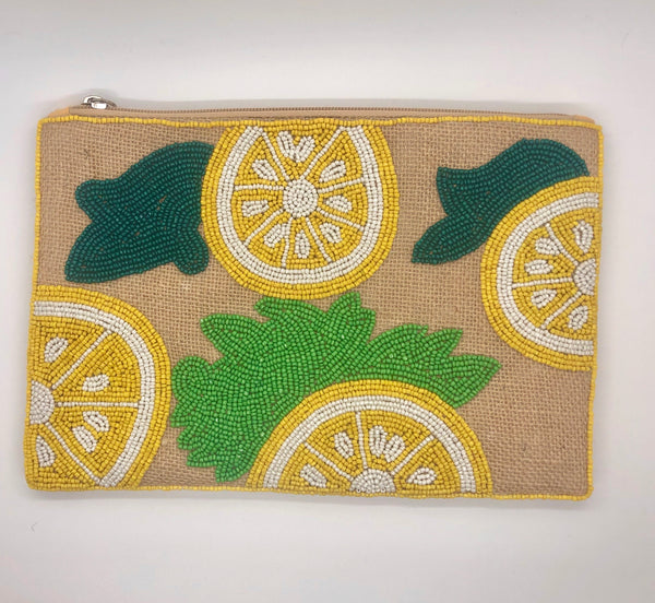Beaded Lemon Straw Clutch-