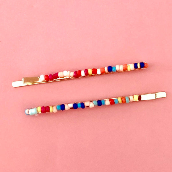 Multicolored beaded bobby pins