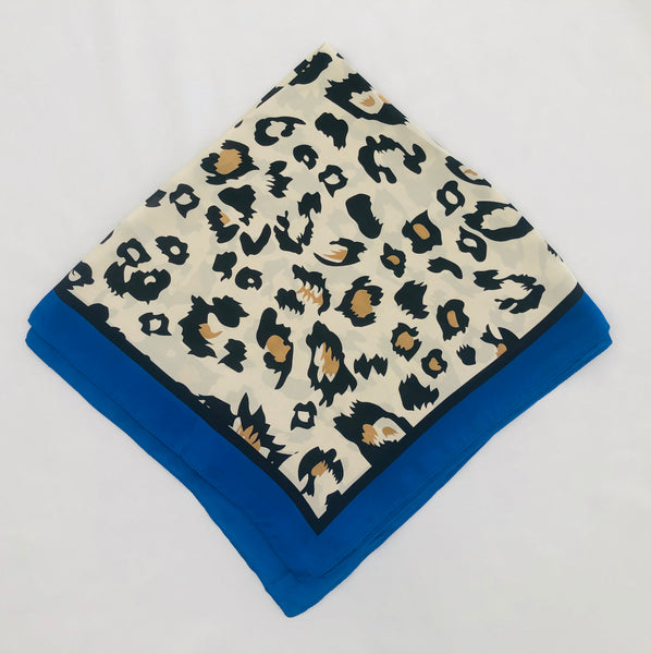 Square Scarf, Bright Blue/Animal Print