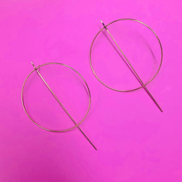 Large geometric hoop earrings -gold