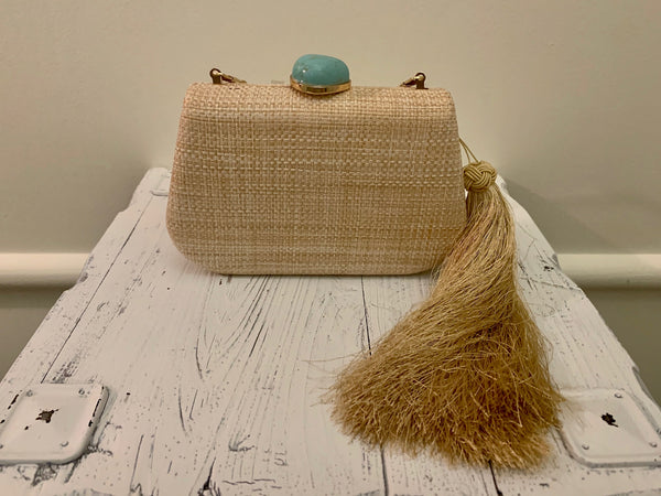 Tan Clutch with Turquoise Closure