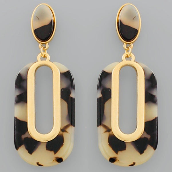 Tortoise Shell Post Earrings