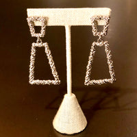 Textured Silver Trapezoid Earrings