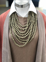 Multi-layer Taupe Necklace of Wood Beads