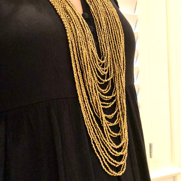 Gold Beaded Multi-Strand Statement Necklace