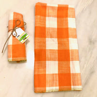 Checkered dish towel; Orange