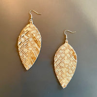 Tan & Gold Feather Earrings