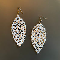 Cream Feather Earrings w/ Animal Print Accent