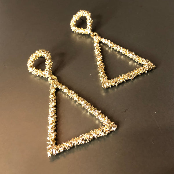 Textured Gold Triangle Earrings