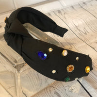 Black Headband with Jewel Accents