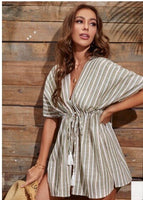 Striped Drawstring Kaftan Cover-Up