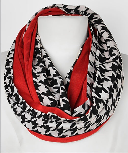 Houndstooth & Crimson infinity scarf