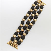 Black and Gold Beaded Apple Watch Band