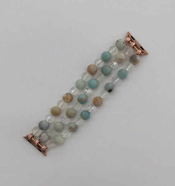 Beaded Apple Watch Bracelet, Light Blue