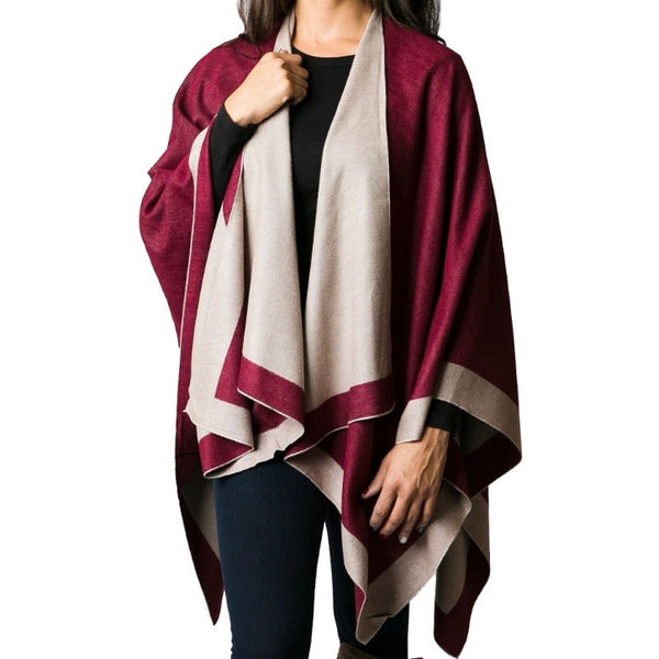 Reversible Wrap, Merlot and Light Tan
