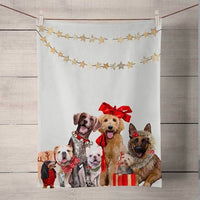 Happy Holiday Dogs Tea Towel