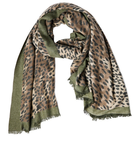 Oblong Animal Print Scarf- Olive
