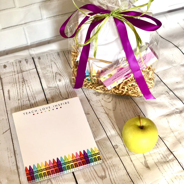 Pre-wrapped Teacher Gift- crayon notepad